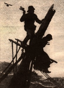 A historic illustration of Lydia Dale fighting for her life in the mast of the J. Hazard Hartzell