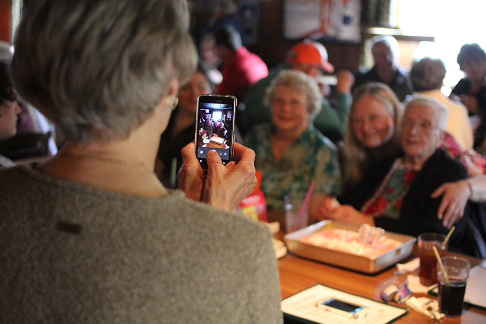 A long-time resident of Thompsonville celebrates her 97th birthday at Geno's.