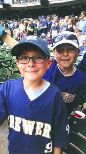 Augie (left) and sister Nora (right) enjoy a Brewers game at Miller Park after the race.  Photo courtesy of Stacy Pasche.