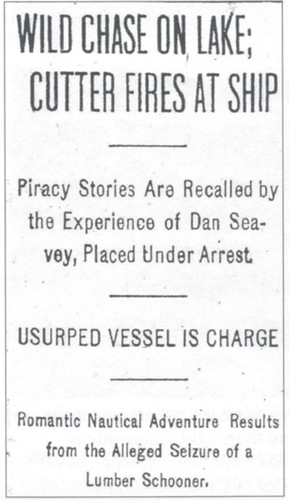 Chicago Daily News clipping Roaring Dan Seavey pirate of the Great Lakes history the betsie current newspaper Richard j Boyd