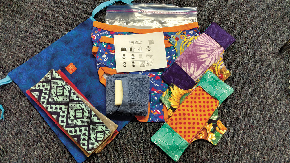 Each 'Days for Girls' kit is made up of eight washable flannel liners; two moisture-barrier shields, two pairs of underpants; a washcloth; a small bar of soap; and two gallon-size freezer bags. Photo by Greta Bolger.