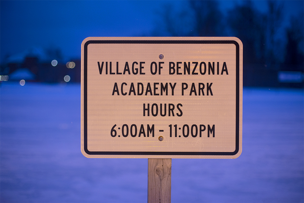 Village of Benzonia Ice Rink Academy Park Benzie County MIchigan outdoor ice rink The Betsie Current Aubrey Ann Parker photography