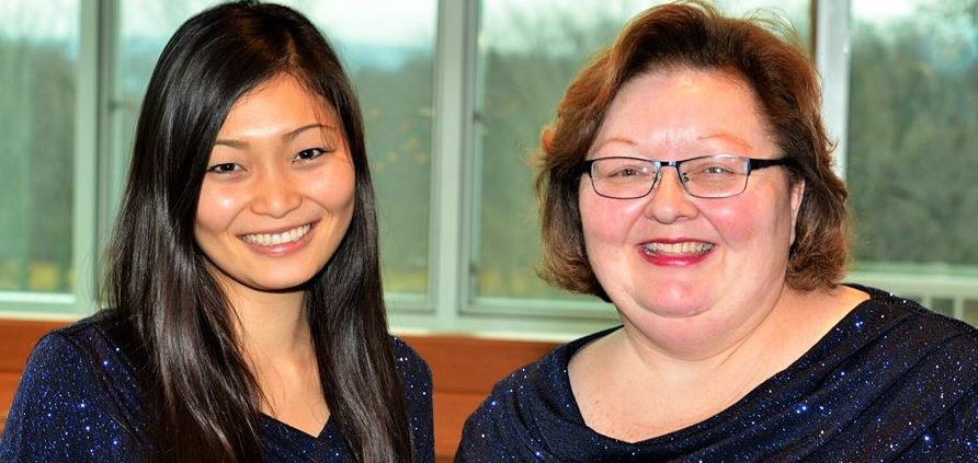 Nozomi Khudyev (left) is the piano accompanist for the Benzie County Community Chorus. Dinah Haag (right) is director.