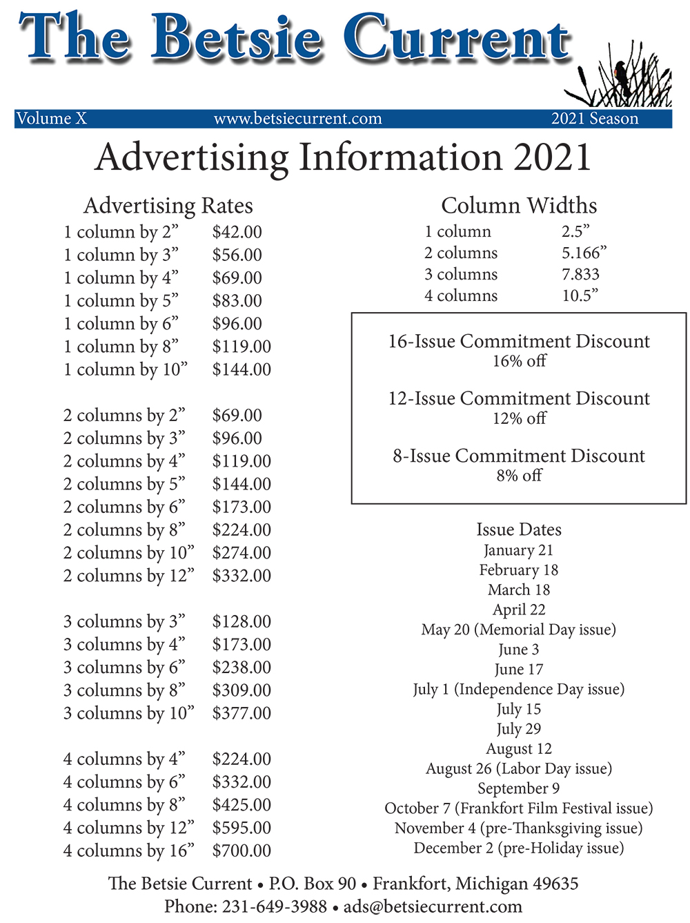 The Betsie Current newspaper Benzie County advertising rate advertise