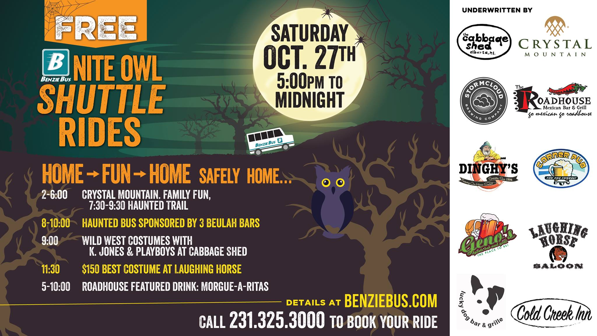 Benzie Bus NIte Owl free halloween shuttle rides Benzie County