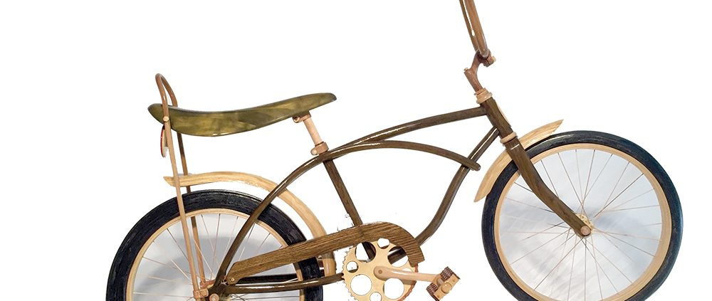 ArtPrize 2015 wooden bike guy Kurt Swanson Schwinn Stingray bikes made of wood Always August Designs custom furniture maker Benzie County