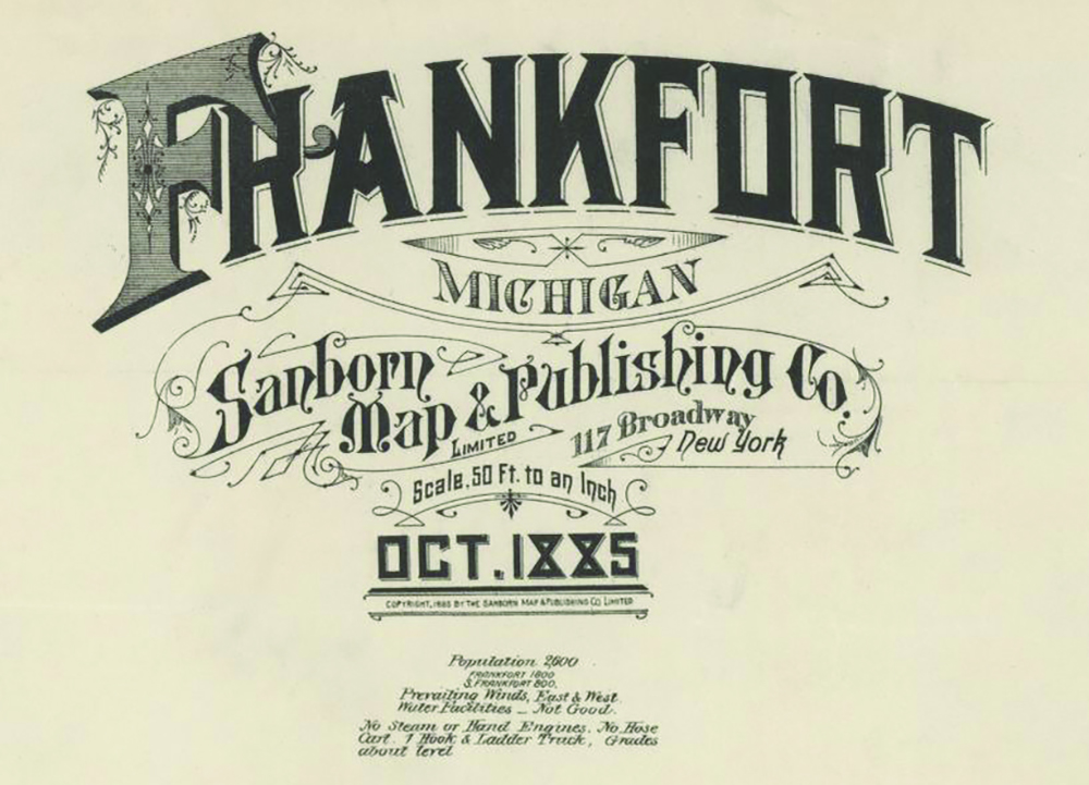 Frankfort Michigan scrollwork Sanborn Fire Insurance Rating Map 1885 Library of Congress Jed Jaworski The Betsie Current newspaper