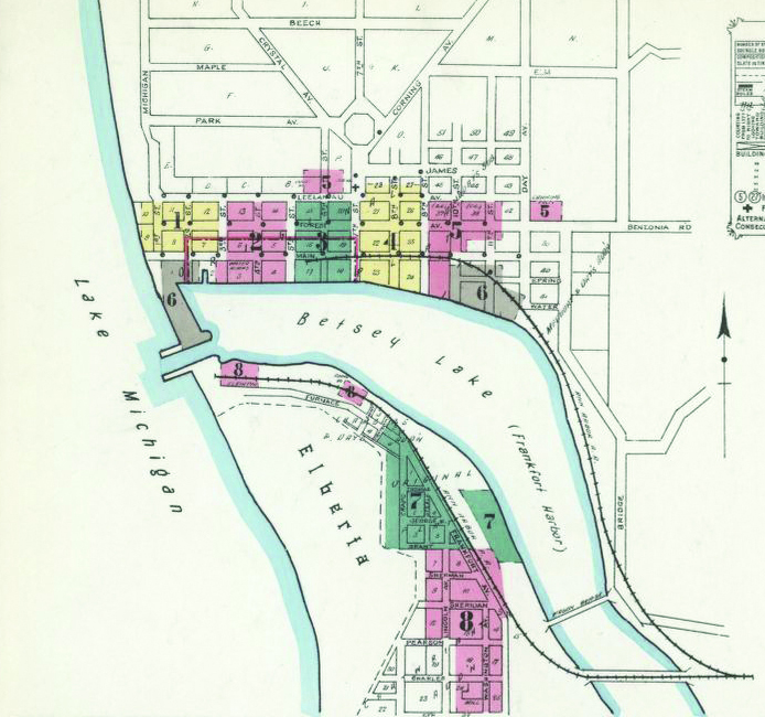 Frankfort Michigan Sanborn Fire Insurance Rating Map 1911 Library of Congress Jed Jaworski The Betsie Current newspaper Benzie County history