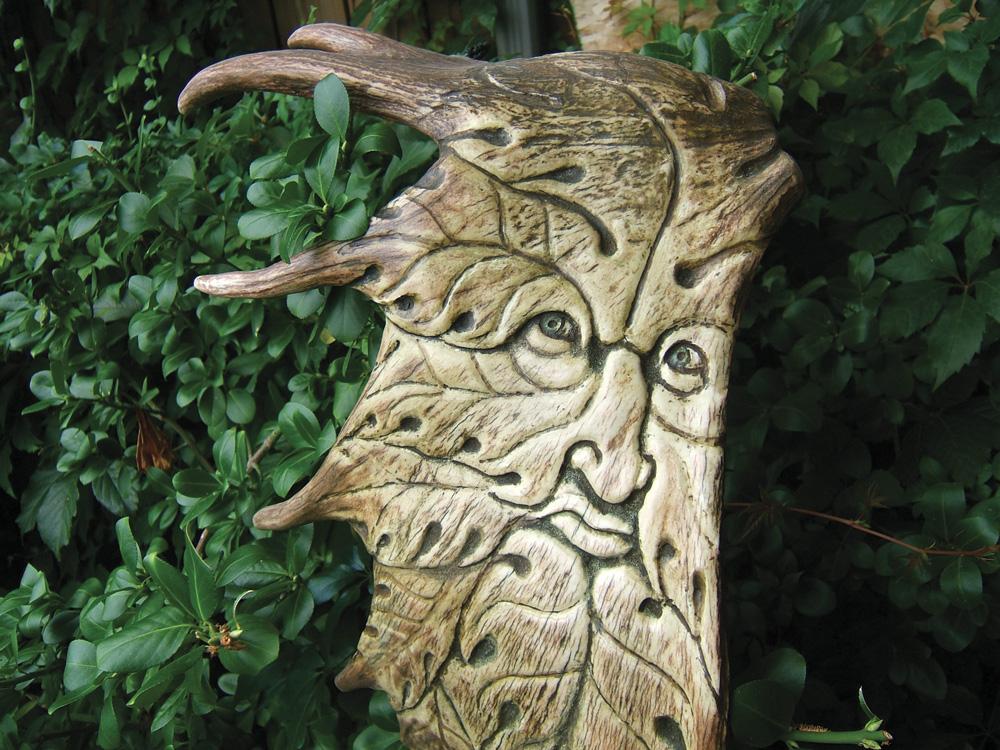 Green Man sculpture Moose Antler Art Rick Jones scrollwork carving artist benzie county the betsie current
