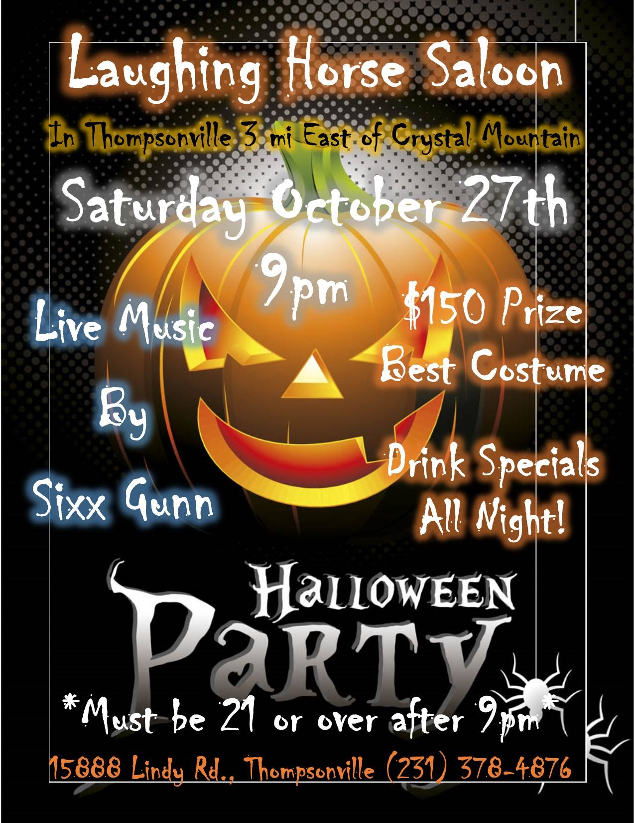 Laughing Horse Saloon Thompsonville Michigan Halloween Party Saturday October 27 2018